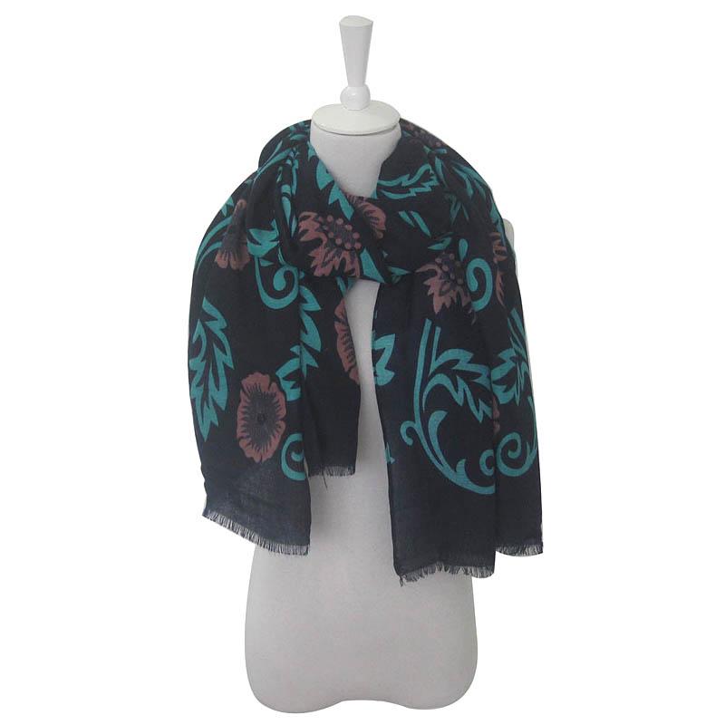 DONGYA 2016 High Quality Muslim hijab For Women Leaf Print Warm Warps Dark Color Loop Women Scarf Shawls and Scarves Hot Sale(China (Mainland))