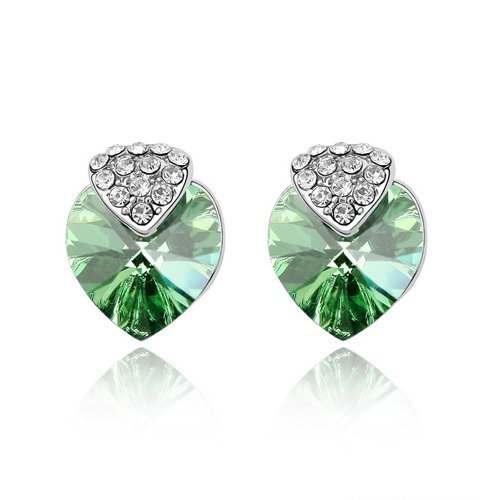 Korean Style Heart Crystal Earrings Make with SWA Elements Fit For Evening Dress #79836(China (Mainland))