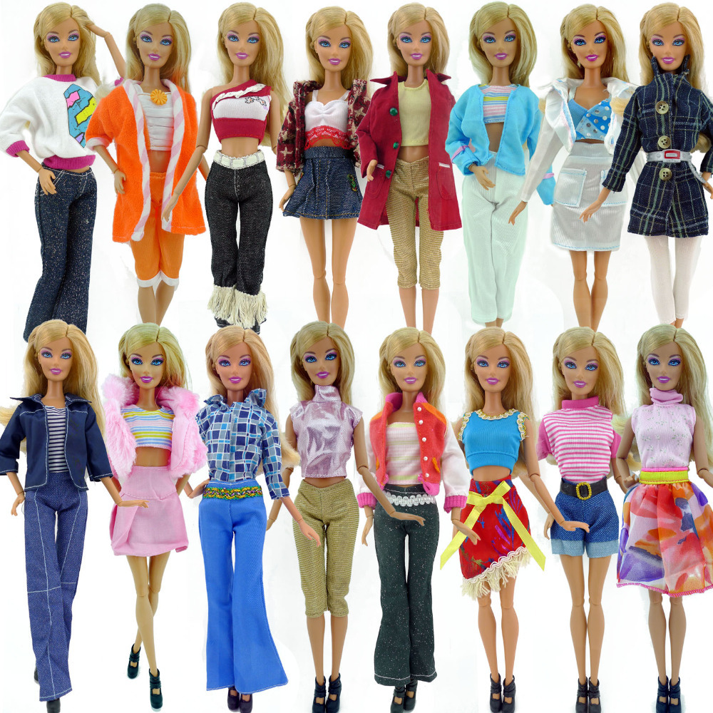Randomly Pick 10 pcs/lot Doll Clothing Sets Fashionable Clothes Casual Dress Suits For Barbie Doll Dress Best Gift Baby Toys(China (Mainland))