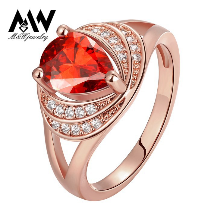 2015 New Design Luxury Water Drop Shaped Ruby Red CZ Diamond Cocktail Ring 18K Rose Gold