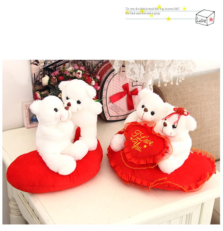 Big Teddy Bear Wedding Couple Doll Presses Plush Toy Bear 1 piece 25cm Doll one Pair of Soft Toy Wedding Gift Free Shipping(China (Mainland))