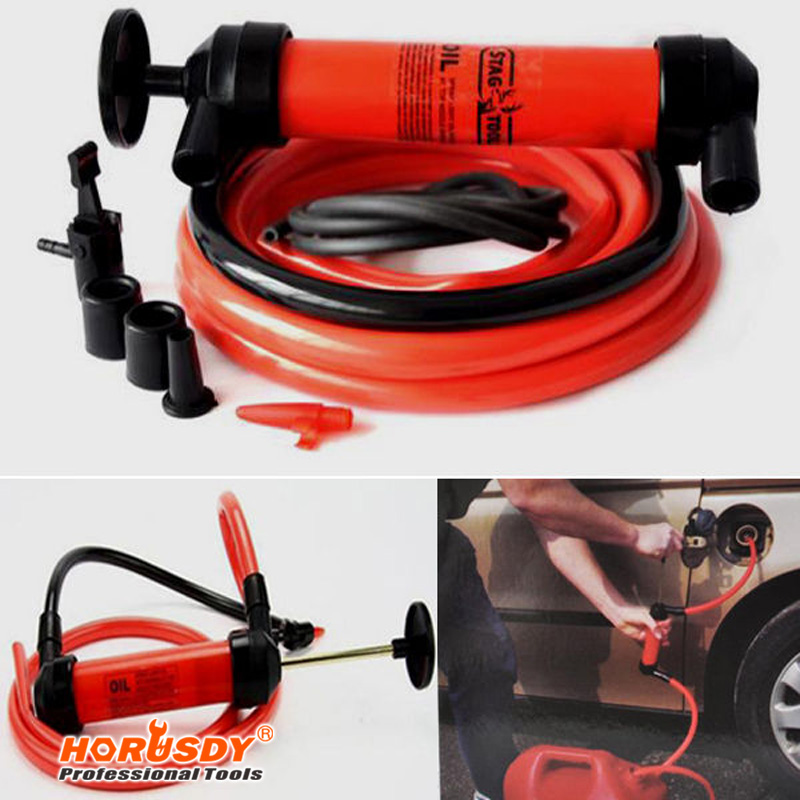 HORUSDY Car Styling Multi-function Car Tire Water Oil Fuel Change Transfer Gas Liquid Pipe Siphon Tool+ Air Pump Kit Inflatable