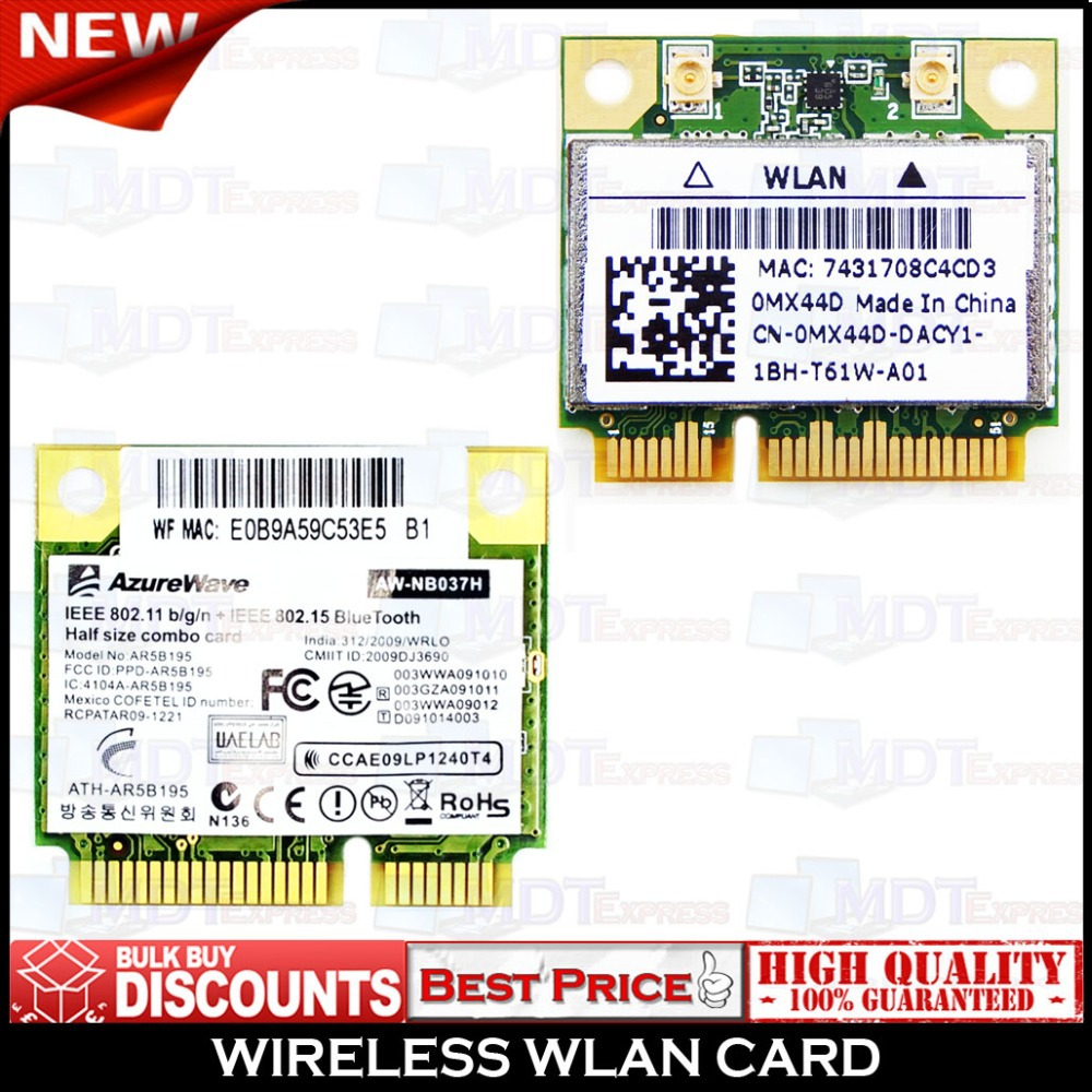 New! Atheros AzureWave AR3011 AR9285 AR9002WB-1NGCD PA3894U Half Mini PCIe WLAN Wifi & Bluetooth Combo Card(China (Mainland))