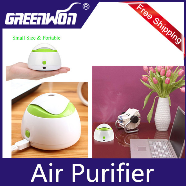 White & Green Portable Mini USB Humidifier Air Purifier Aroma Diffuser for Home Room Car Free Shipping(China (Mainland))