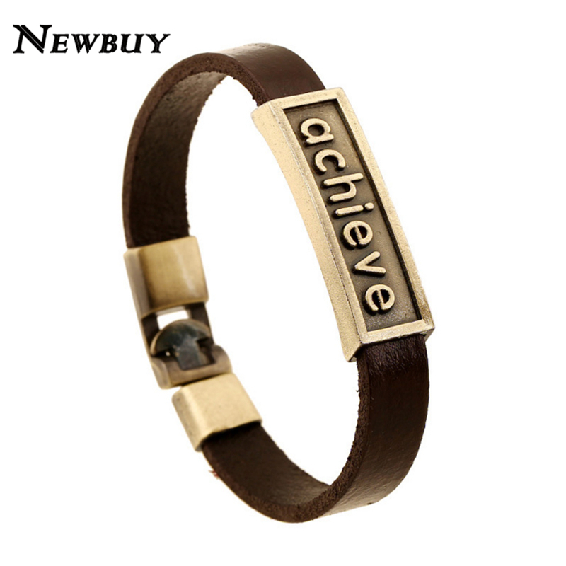 NEWBUY 2016 New Fashion Achieve Men Leather Bracelet Vintage Design Good Luck Charm Bracelet For Men Hot Sale(China (Mainland))