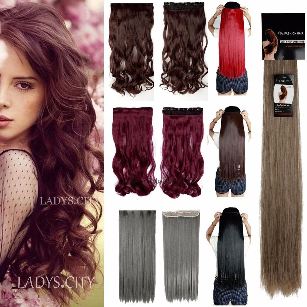 """Long 24"""" Curly 66CM 100% Real Thick 140g 3/4 Full Head Clip in on Hair Extensions Fashion New Gray Pink Blue Blonde Multil-Color(China (Mainland))"""