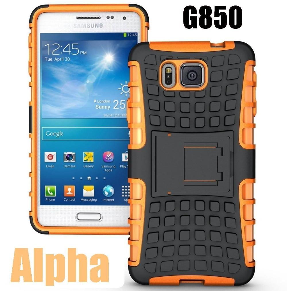 CZ For Samsung Galaxy Alpha Hard Silicone Armor Back Cover Combo Case Shock Proof Anti-Skid SM-G850F G850(China (Mainland))