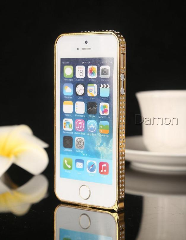Two Rank Crystal Rhinestone Diamond Bling Case Cover Bumper For Apple iPhone 5 5S 5G Cell Phones cases Bumper Hot sale(China (Mainland))