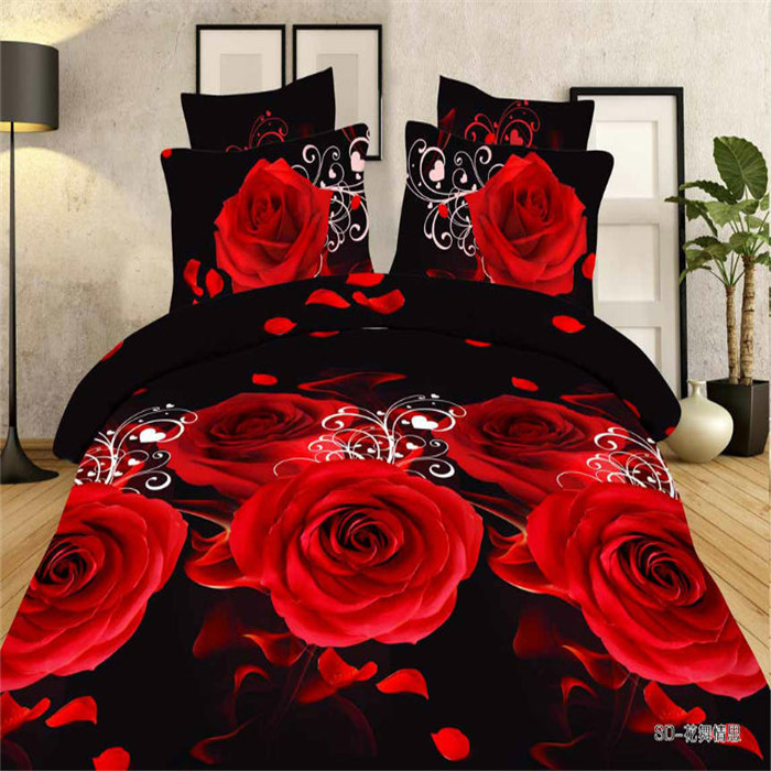 Popular black and red flower comforter set buy cheap black - Black and red bedding sets ...