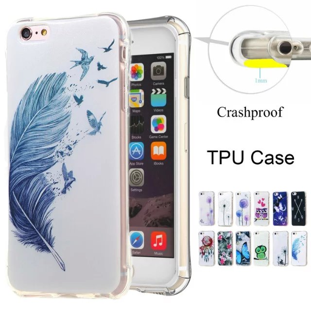 High Quality Air Cushion Shockproof Butterfly Flower Dandelion Cute Owl TPU Case For IPHONE 5 5S SE /6 6S/6PLUS 6S PLUS(China (Mainland))