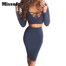 Vestidos 2016 Spring Long Sleeve Lace Up Tops 2 Piece Sets Women Sexy Clubwear Slim Midi Bandage Bodycon Outfit Party Dresses(China (Mainland))