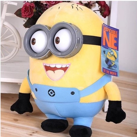 Free shipping high quality  Minions 3D eyes yellow doll soybeans despicable me doll plush toys  factory direct wholesale(China (Mainland))