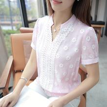 New Women Blouses Short Sleeve Summer Cotton Linen Fashion Floral Pullover Ladies Tops Shirt Female Clothing V-Neck For Girls