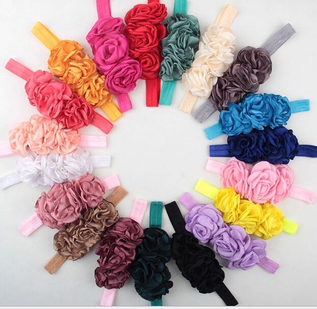 Factory retail price 1pc/lot 18colors lovely baby satin ruffles flower hair accessories kids stretch elastic headband headwear(China (Mainland))