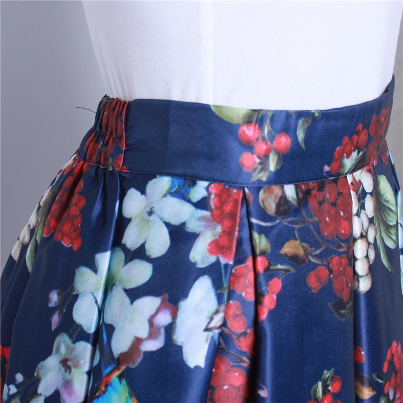 HTB15IeLQFXXXXbRXXXXq6xXFXXXH - GOKIC 2017 Summer Women Vintage Retro Satin Floral Pleated Skirts Audrey Hepburn Style High Waist A-Line tutu Midi Skirt