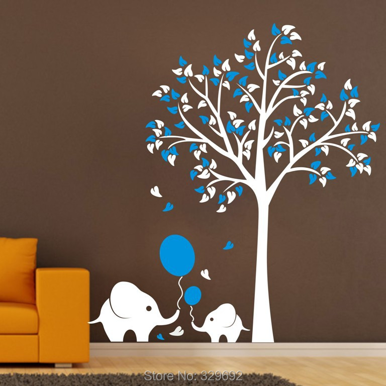oversize high150cm elephant tree wall decals wall mural fashion diy oversized wall sticker clock large