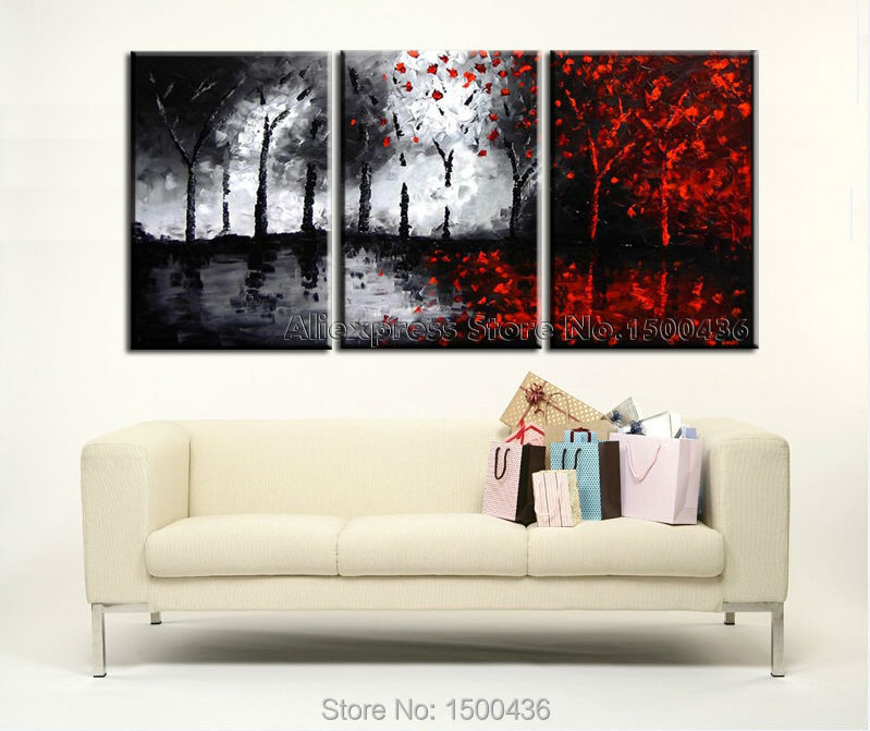 hand painted tree canvas wall art picture oil painting. Black Bedroom Furniture Sets. Home Design Ideas