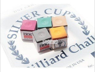 Free shipping!! 5 pcs Billiards silver CUP Colorful Chalk/5 clolur/Made in USA