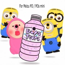 3D Cartoon lovely girl Love Water Bottles boy tears Minion soft silicone case cover for Meizu M3 M3s mini Meilan 3 3s(China (Mainland))