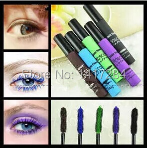Brand Harajuku zipper Japanese cosplay sky gradient color mascara five color rimel colossal 3d fiber mascaras waterproof make up(China (Mainland))