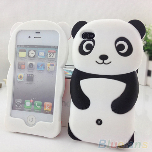 Cute 3D Panda Soft Silicone Protective Back phone Case Cover Skin For iPhone 4 4S 5 5S 2K9Y(China (Mainland))