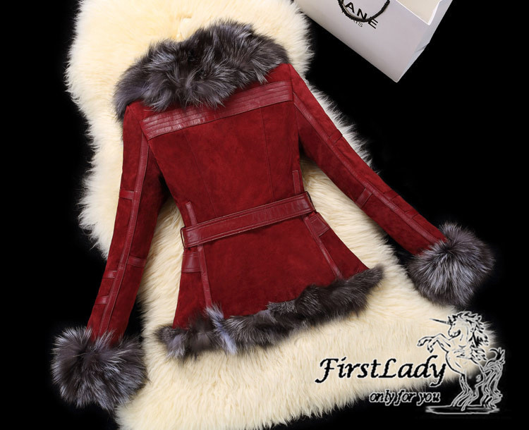 Real fox collars real leather jacket 23