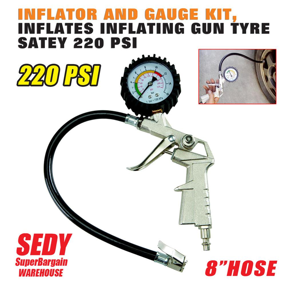 Air Pressure Gauge 0 300 PSI 0 16 Bar With Inflating Gun Fit For Auto Car