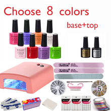 burano Nail kit Art DIY Full Set Led Soak Off Uv Gel Polish Manicure Topcoat+basecoat +4color uv gel 36W Lamp Kit Set 002 NEW