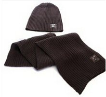 Hat scarf two-piece brand scarf for suit men and women gorro model(China (Mainland))