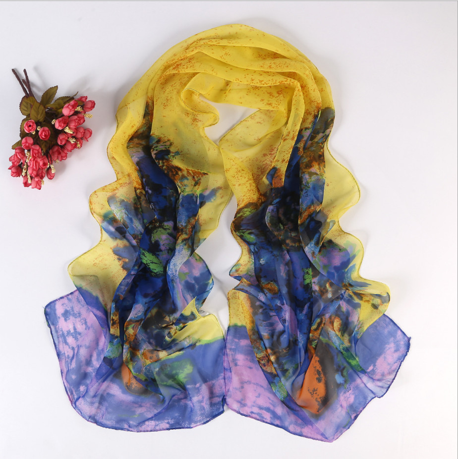 Chiffon silk scarf female summer autumn all-match scarf long design air conditioning cape Oil Paint silk scarves shawl(China (Mainland))