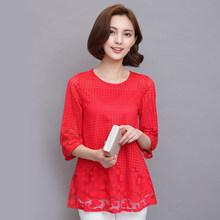 M-5XL женские летние блузки, шифоновые женские топы 2019, новые модные женские блузки больших размеров, Блузки белого, красного, черного цвета 811E(China)