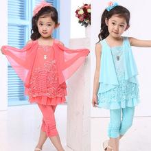 Girls clothing 2015 baby set chiffon summer capris batwing shirt child dresses(China (Mainland))