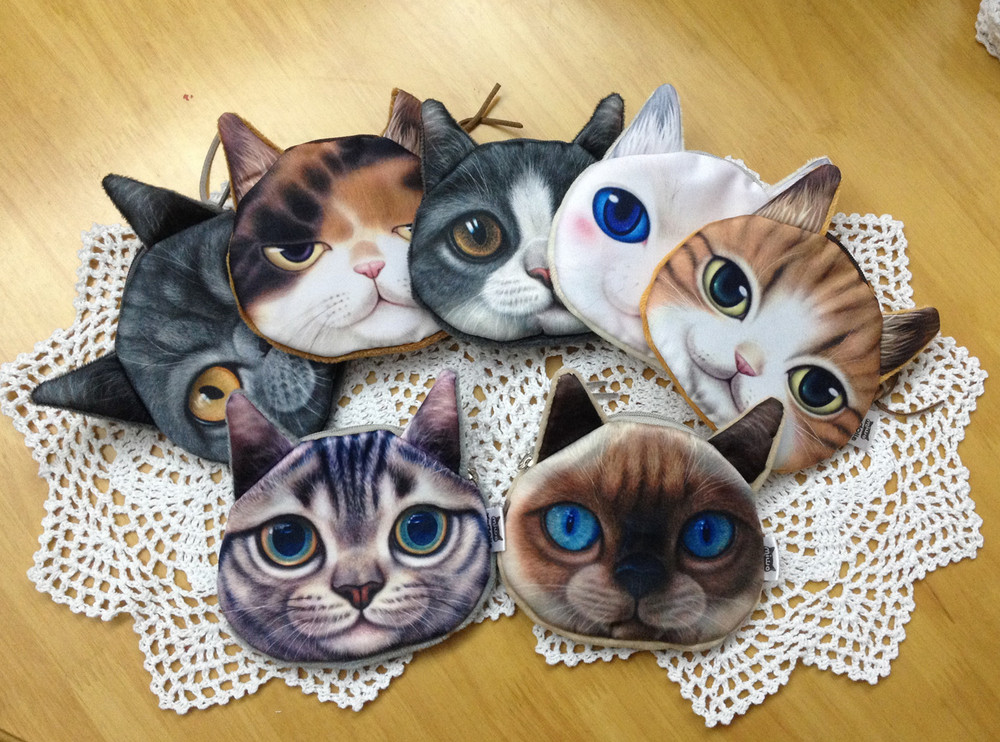 24 pcs Printer Cats Coin Purse Zipper Fashion Women's Wallets Styles Change Bag Cheap Coins bags Child Coins Holder Pouch Purses