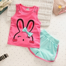 Buy Baby girl clothes lovely Pattern Clothing Sets Vest + Shorts Kid Girls Clothes set unisex Children Clothing Suit 2017 Summer for $2.75 in AliExpress store