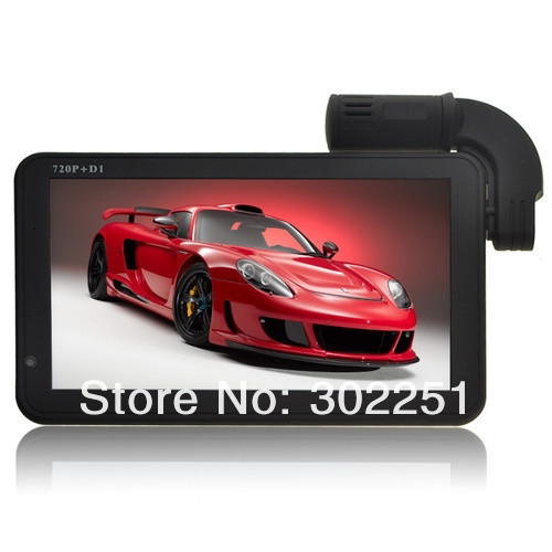 """4GB 7"""" LCD Touch Screen HD 720P Car GPS Navigation Car DVR+ Rearview Waterproof Camera G7 with Remote Control+free Map"""