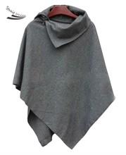 New 2015 fashion Batwing Wool Casual Poncho for Women Winter Coat Jacket Loose Cloak Cape Black/Gray Outwear 35