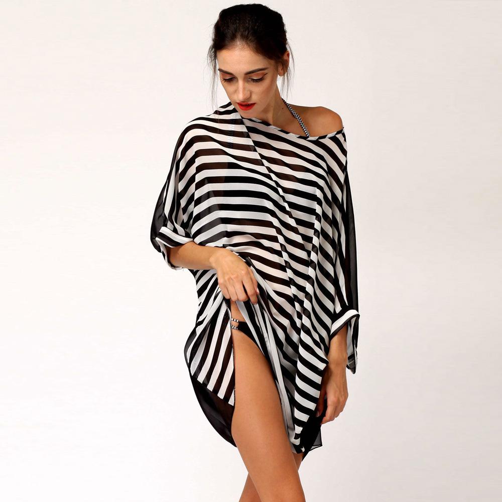 New Fashion Sexy Black White Stripes Beachwear Beach Dress Bikini Women Chiffon Oversized Swimwear Smock Summer Dress(China (Mainland))
