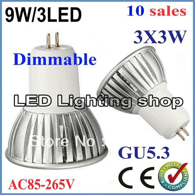 FREE SHIPPINF 10pcs/lot GU10 E27 E14 MR16 GU5.3 9W 85-265V High power Light lamp Bulb LED Downlight Led Bulb