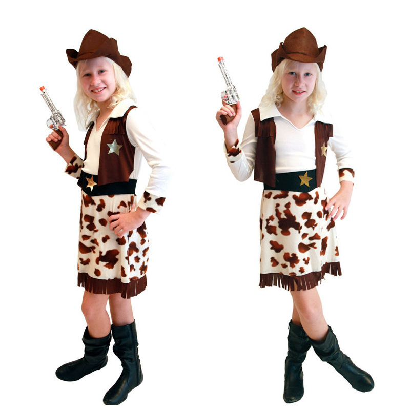 2016 Children's Day Dress Kid Halloween Cos Costume Girls Hallowmas Party Proformance Suit Children Make Up Cowboy Dress B-3139(China (Mainland))