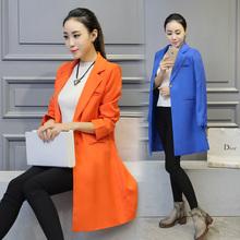 Women Blazer 2015 New Fashion Brand Plus Size S-XXL Single Breasted Long Slim Casual Blazers Suit Jacket Blaser Feminino