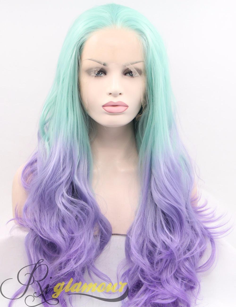 longue violet et bleu clair cosplay perruque ombre color synthtique 100 fiber de cheveux avant - Perruque Colore