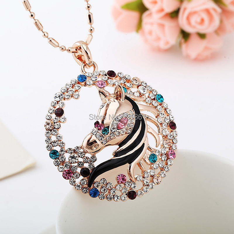 horse pendant necklace with alloy and gold plating shine, wholesale and retailer factory in china,jewerly factory directly(China (Mainland))