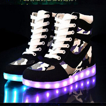 8Color USB Charging LED Shoes High Top Unisex Mens Womens Sneakers Luminous lights Glowing Sneakers Yeezy Zapatos Hombre Mujer(China (Mainland))