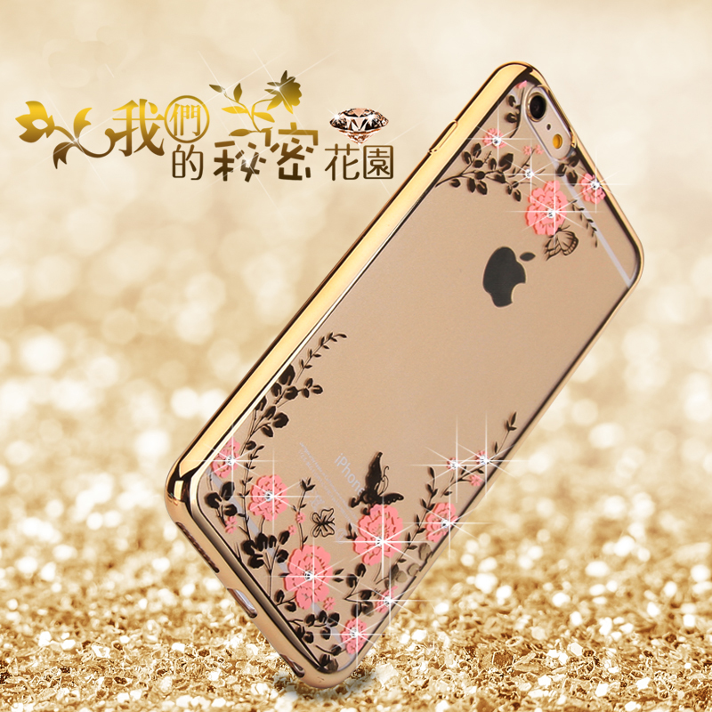 Crystal Diamond Flower Case for iphone 6 6s Slim Soft Luxury Ultra Thin Clean Soft TPU Fashion cover for iphone 6 6s(China (Mainland))