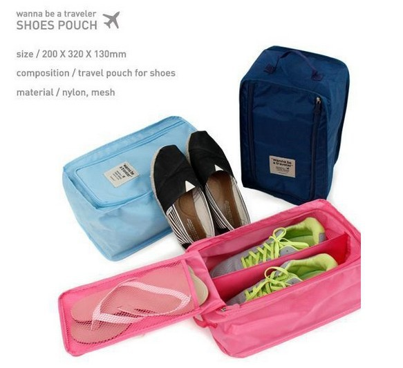 Travel shoes storage box portable shoe traveller sneaker pouch 3colors Free Shipping(China (Mainland))