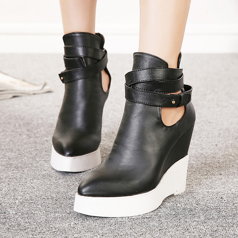 2015 New Fashion Women Shoes Buckle Leather Platform Women Boots Ladies Point Toe Ankle Wedge Autumn Boots Heels;S111910(China (Mainland))