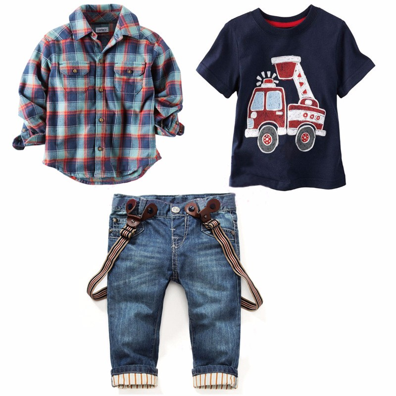 Summer boy clothing sets plaid boys clothes cotton tops + shirt + jeans casual baby children clothing car print kids tracksuit(China (Mainland))