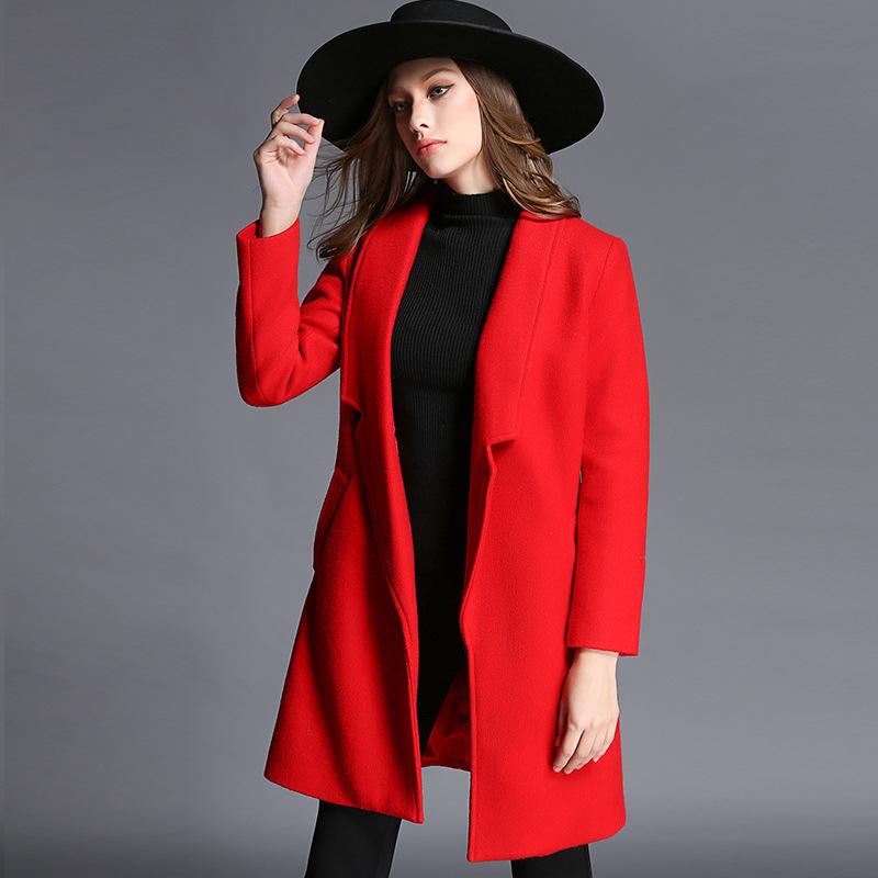 Здесь можно купить  2015 HOT SALE New winter women woolen jacket lapel female coats solid color woolen coat long-sleeved jacket fashion  Women coat  Одежда и аксессуары