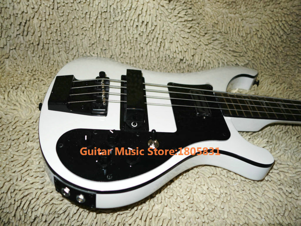 Bass Guitars White 4 Strings 4003 Electric Bass Two stereo Jack Input Black Hardware Free Shipping(China (Mainland))