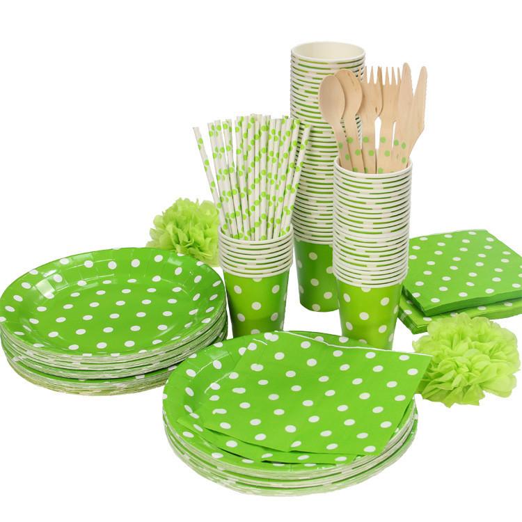 Aliexpress com  Koop groene en witte stippen partij serviesgoed tafel verjaardagsfeestje